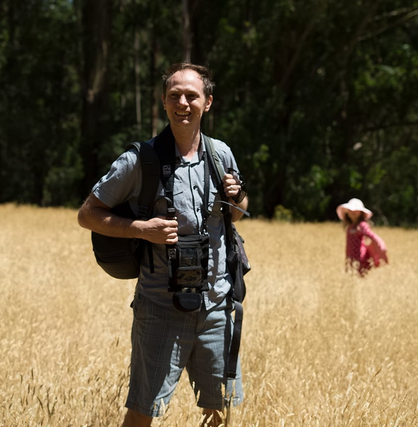 Gareth Vanderhope Junior Fiction Author Standing in dry grass at Sherbrooke Forest